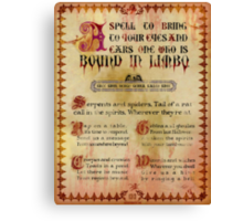 Madame Leota's Spell Book Page Two by Topher Adam Canvas Print