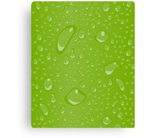 Water Droplets Green Canvas Print