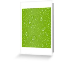 Water Droplets Green Greeting Card