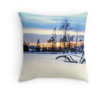 A Snowy Bike Ride Throw Pillow