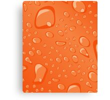 Water Droplets Orange Canvas Print