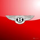 Bentley Badge-Logo 3D on Red by Captain7