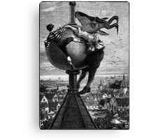 The Big Fight at the Top of the Flushing Steeple.. Canvas Print