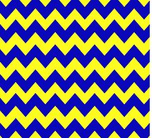 Blue and Yellow Chevron by georgiasf