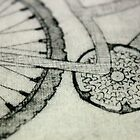 Bike Collagraph Print on Calico - Close up by lilybowlerart