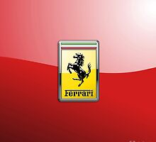 Ferrari 3D Badge-Logo on Red by Captain7