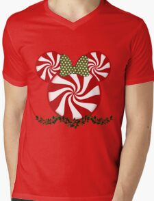 Peppermint Minnie Mens V-Neck T-Shirt