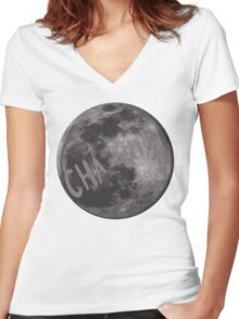 CHa moon the tick Women's Fitted V-Neck T-Shirt