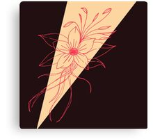 Modern Peach, Coral, and Black Floral Triangles Canvas Print