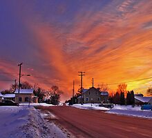 Winter Sunset In Sullivan by EBArt