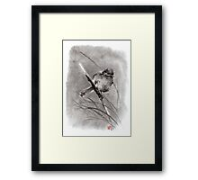 Bird on the branch litlle sparrow winter cold rain painting ink Framed Print