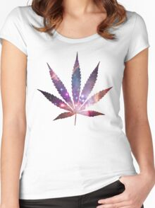 Space Pot Leaf Women's Fitted Scoop T-Shirt