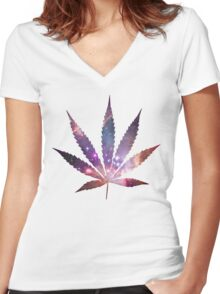 Space Pot Leaf Women's Fitted V-Neck T-Shirt
