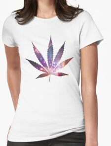 Space Pot Leaf Womens Fitted T-Shirt