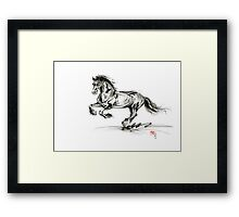 Horse stallion black wild animal 2014 year ink painting Framed Print
