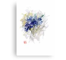 Cornflower Cornflowers Blue Yellow Green watercolor painting Canvas Print