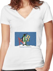 Reading Books is COOL, Penguin with Letters, ABC's, Snow Women's Fitted V-Neck T-Shirt