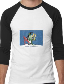 Reading Books is COOL, Penguin with Letters, ABC's, Snow Men's Baseball ¾ T-Shirt