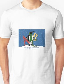 Reading Books is COOL, Penguin with Letters, ABC's, Snow T-Shirt