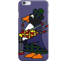 Cool Funny Penguin Playing Bagpipes iPhone Case/Skin