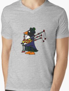 Cool Funny Penguin Playing Bagpipes Mens V-Neck T-Shirt