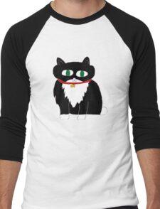 Black and white cat Men's Baseball ¾ T-Shirt