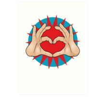 Pop Art Hand Heart Hand Sign Art Print