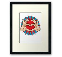 Pop Art Hand Heart Hand Sign Framed Print