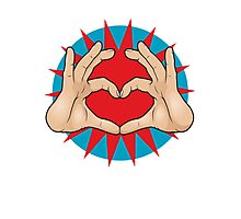 Pop Art Hand Heart Hand Sign Photographic Print