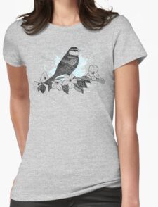 Bird on cherry blossoms Womens Fitted T-Shirt