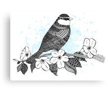 Bird on cherry blossoms Canvas Print
