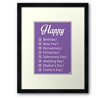 Happy... Check-list Card Framed Print