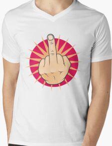 Vintage Pop Art Middle Finger Up Gesture. Mens V-Neck T-Shirt
