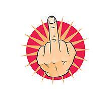 Vintage Pop Art Middle Finger Up Gesture. Photographic Print