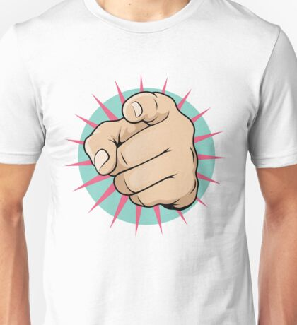 Vintage Pop Art Pointing Hand Sign Unisex T-Shirt