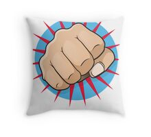 Vintage Pop Art Punching Fist Sign Throw Pillow