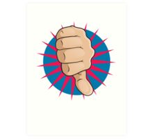 Vintage Pop Art Thumbs Down Sign. Art Print