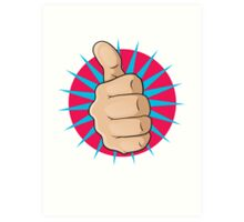 Vintage Pop Art Thumbs Up Sign. Art Print
