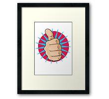 Vintage Pop Art Thumbs Up Sign. Framed Print