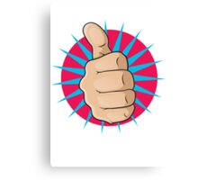 Vintage Pop Art Thumbs Up Sign. Canvas Print