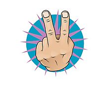 Vintage Pop Two Fingers Up Hand Sign. Photographic Print