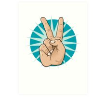 Pop Art Victory Hand Sign. Art Print
