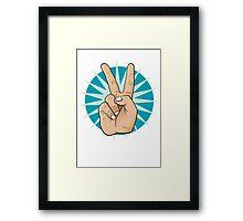 Pop Art Victory Hand Sign. Framed Print