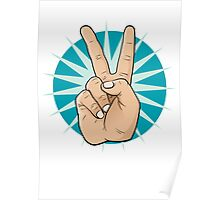 Pop Art Victory Hand Sign. Poster