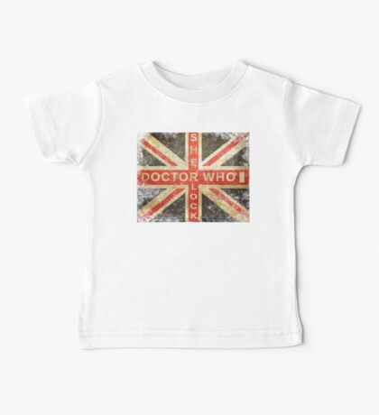 Doctor Who & Sherlock worn out Union Flag  Baby Tee