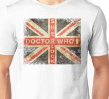 Doctor Who & Sherlock worn out Union Flag  Unisex T-Shirt