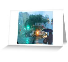 Waiting for a cable car in the rain Greeting Card