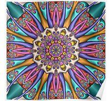 Decorative Kaleidoscope flower, fractal artwork Poster