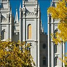 Salt Lake Temple Autumn Gold 20x24 by Ken Fortie