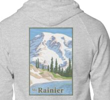 Vintage Mount Rainier Travel Poster Zipped Hoodie